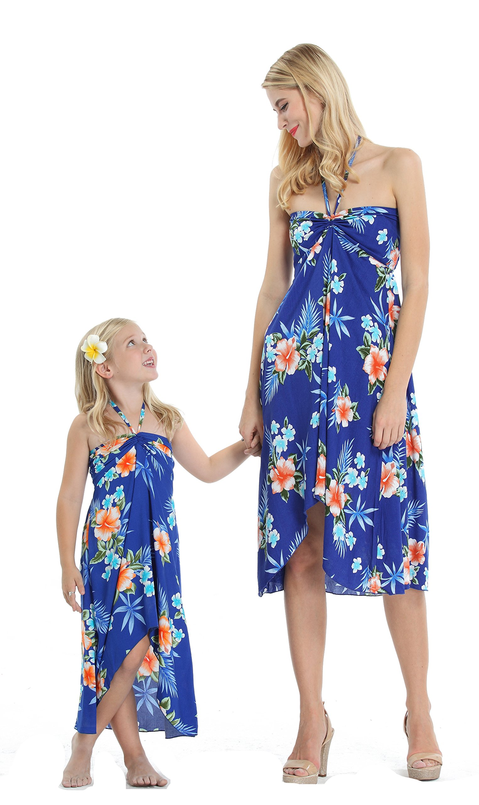 Matching Hawaiian Luau Mother Daughter Butterfly Dress In Hibiscus Blue M 8 Product8