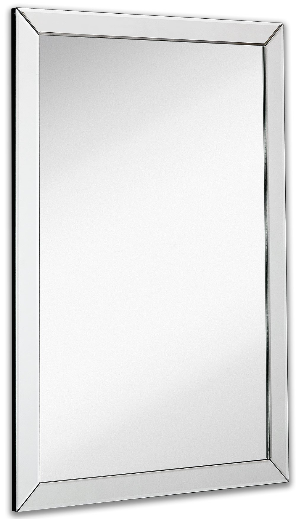 Large flat framed wall mirror with 2 inch edge beveled for Large flat bathroom mirrors