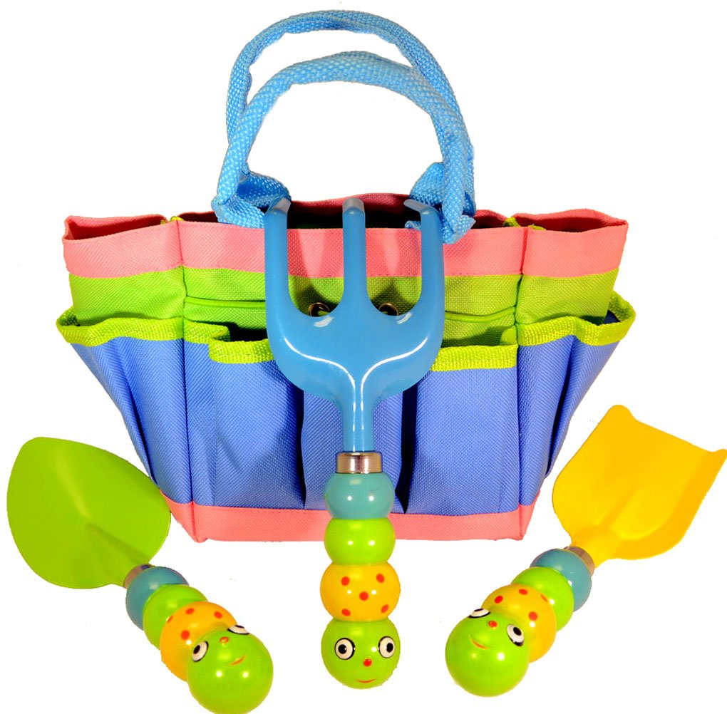 Kids garden tool set with tote tools handles made as for Childrens gardening tools