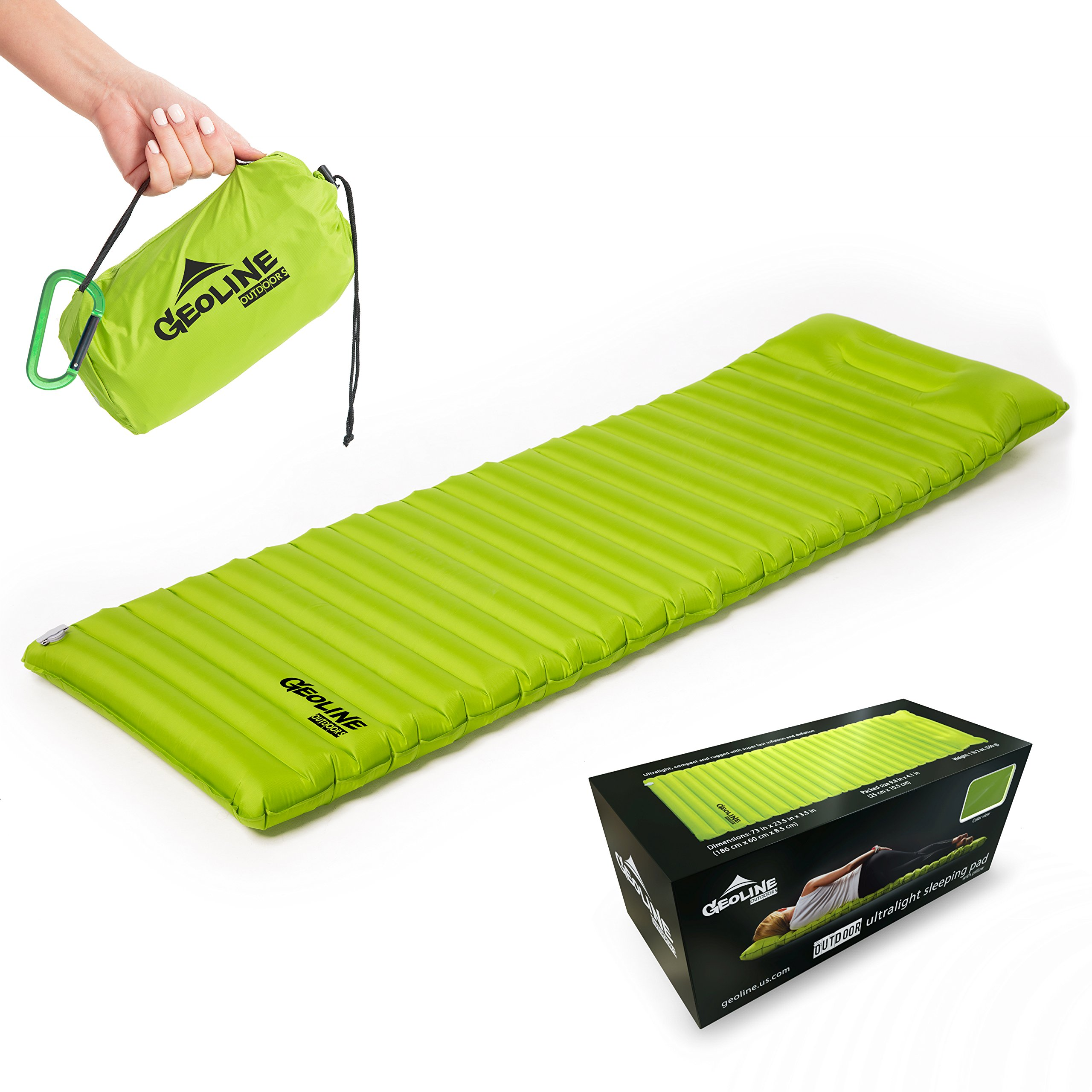 Geoline Outdoors Inflatable Sleeping Pad With Pillow