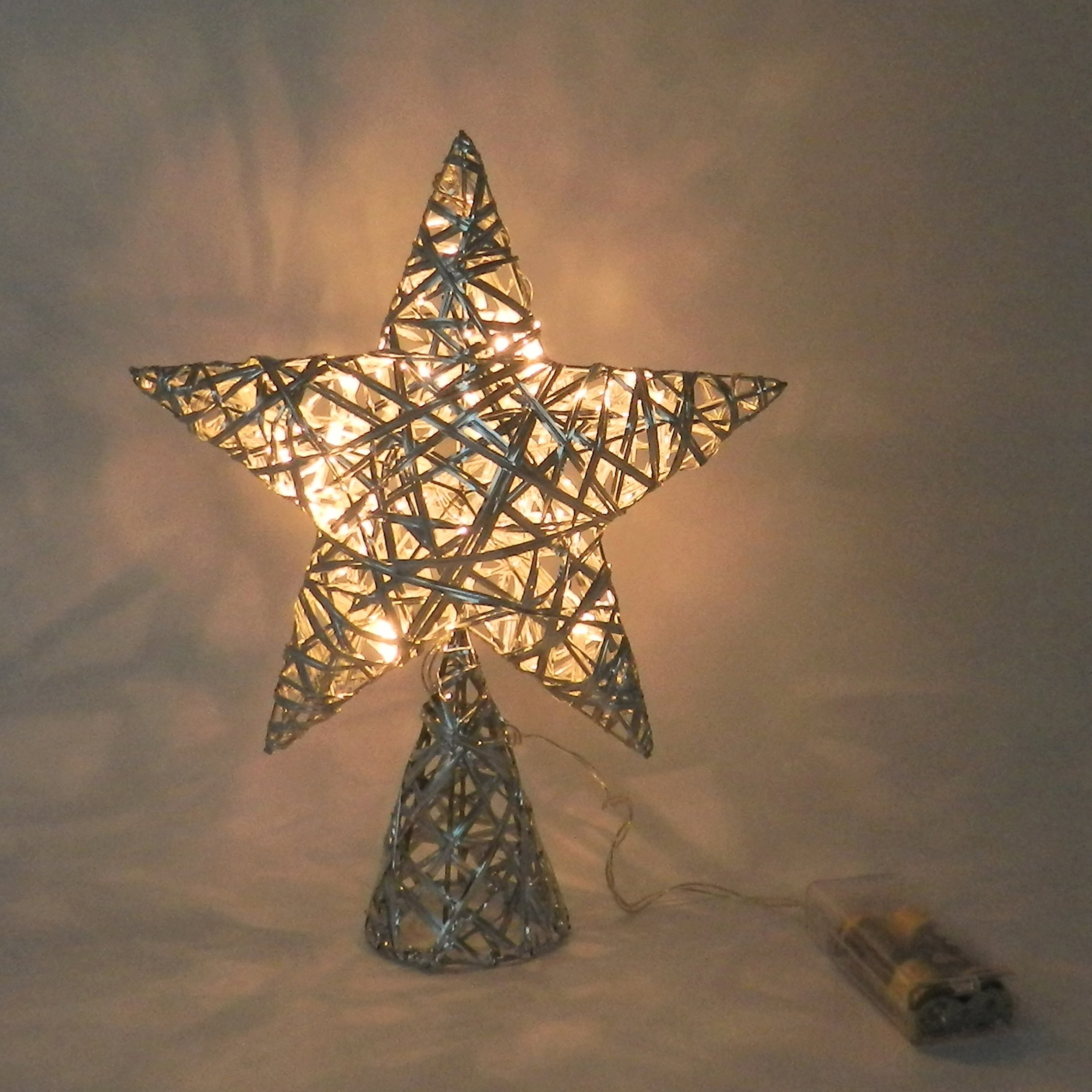 Silver tree top star with warm white led lights for for Product key decor8